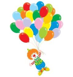 Circus clown flies with balloons vector