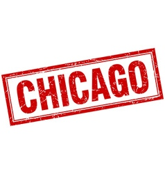 Chicago red square grunge stamp on white vector