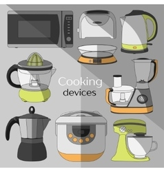 Cooking devices icons set vector