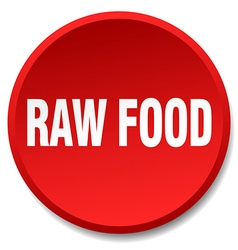 Raw food red round flat isolated push button vector
