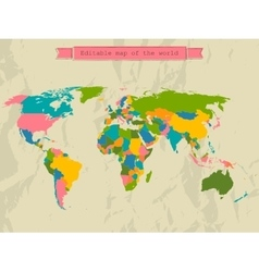 Editable world map with all countries vector