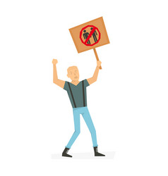 angry man with banner screaming protesting vector image vector image
