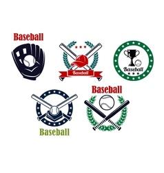 Baseball heraldic emblems set vector