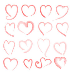 Brush stroke sketch drawing of hearts shape set vector