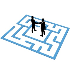 Business people team find connection in maze vector image