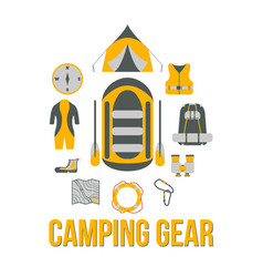 Camping gear tourism equipment vector