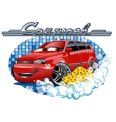 Car Washing sign with sponge vector image vector image