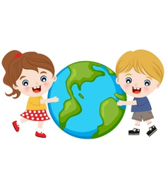 children hug earth vector image