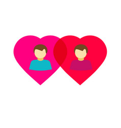 couple gay in love hearts flat homosexual vector image vector image
