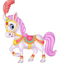 Cute circus horse isolated on white background vector