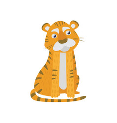 cute tiger sitting isolated on white wild orange vector image