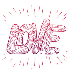 Doodle inscription love with zentangle pattern vector