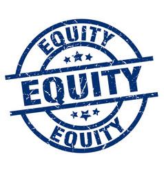 Equity blue round grunge stamp vector