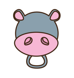 Face hippo cartoon animal vector
