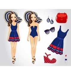 Fashion Blue Beach Set For Girl vector image vector image