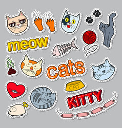 Funny cats doodle pets stickers badges vector