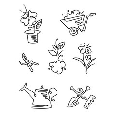 Garden flower line art design icons big set vector