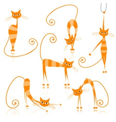 Graceful orange striped cats for your design vector image