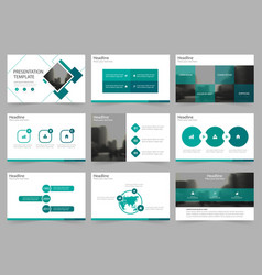 Green square abstract presentation templates vector