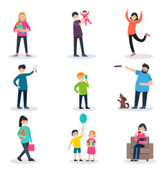 happy people collection vector image vector image