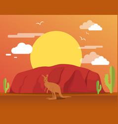 Kangaroo in desert and mountain for traveling vector