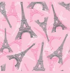 Pink grey eifel tower paris seamless repeat vector