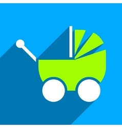 Pram flat square icon with long shadow vector