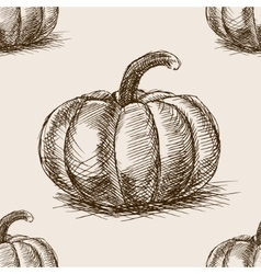 Pumpkin hand drawn sketch seamless pattern vector