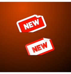 Red Stickers with New Title on Dark Red Background vector image vector image