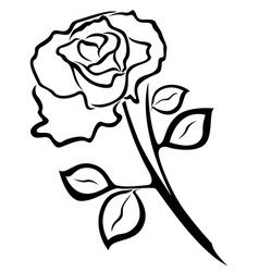Rose flower black outline vector