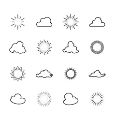 Set of sun and cloud shapes line style vector