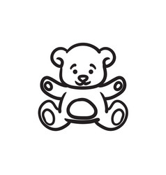 Teddy bear sketch icon vector