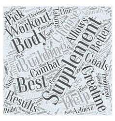 The Best Body Building Supplement Word Cloud vector image