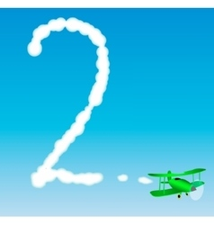 The plane draws a number in the sky Two vector image