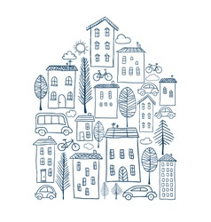 Town doodles in house shape vector