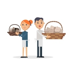 Truffles sellers with mushrooms in wicker baskets vector