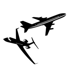 Two passenger aircraft vector