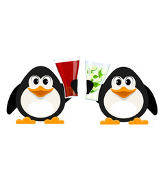 two small penguins with cola glasses and vector image vector image