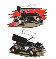 two sprint cars vector image