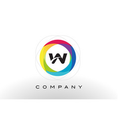 w letter logo with rainbow circle design vector image vector image