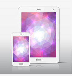 white mobile phone and tablet pc template vector image vector image