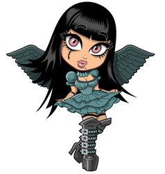 Cute goth girl with wings vector