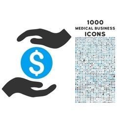 Business insurance hands icon with 1000 medical vector