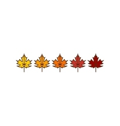 Autumn maple leaves icons vector