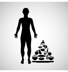 silhouette man with food pyramid icon vector image