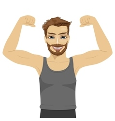 Young man showing his muscles vector image