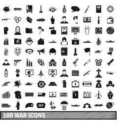 100 war icons set simple style vector