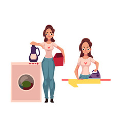 Pretty young woman housewife doing housework - vector