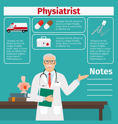 Physiatrist and medical equipment icons vector