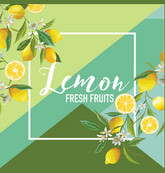 Tropical lemon fruits and flowers summer vector